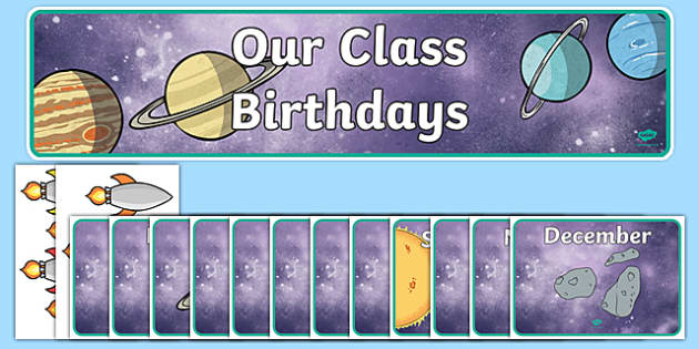 Editable Birthday Display Set (Space) - Birthday set, birthday display, banner, birthday, birthday poster, birthday display, months of the year, cake, balloons, happy birthday