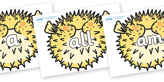 Foundation Stage 2 Keywords on Pufferfish - FS2, CLL, keywords, Communication language and literacy,  Display, Key words, high frequency words, foundation stage literacy, DfES Letters and Sounds, Letters and Sounds, spelling