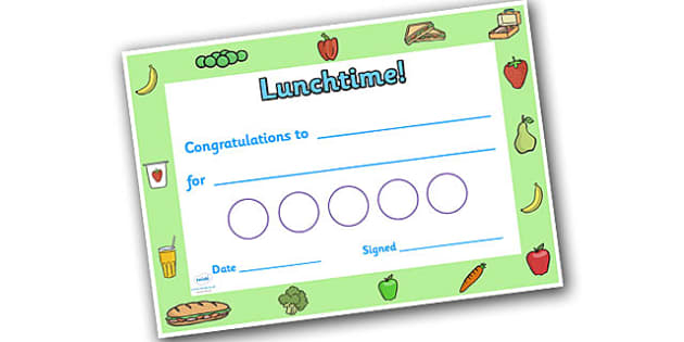 Lunchtime Themed Sticker Reward Certificate 30mm - lunchtime, lunchtime certificate, lunch certificate, lunchtime sticker certificate, lunchtime reward