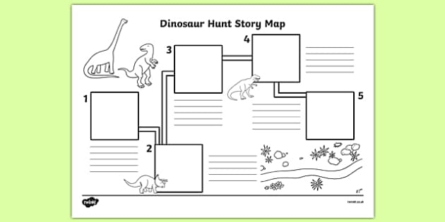 Dinosaur Hunt Story Map Activity Sheet - dinosaur hunt, dinosaur, hunt, story map, activity, worksheet