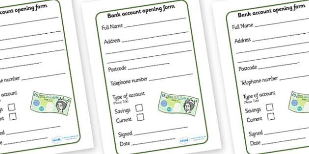 Bank Role Play Account Opening Forms - Bank Role Play, banking, bank resources, money, euros, pounds, cheque book, till, cash, bank manager, cash mashine, role play, display, poster, account