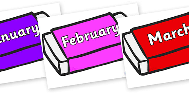 Months of the Year on Erasers - Months of the Year, Months poster, Months display, display, poster, frieze, Months, month, January, February, March, April, May, June, July, August, September