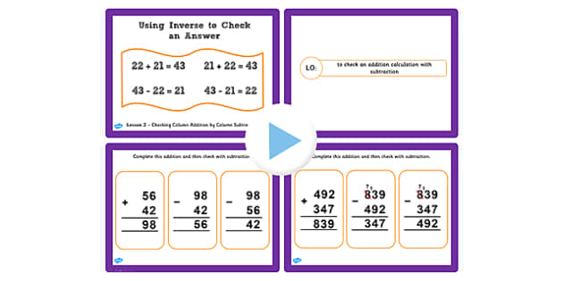 Y3 Inverse Lesson 2 Check Addition Calculations with Subtraction
