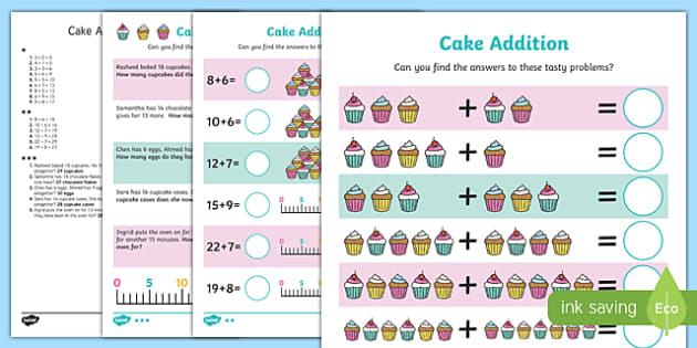 Cake Addition Differentiated Activity Sheet Pack, worksheet