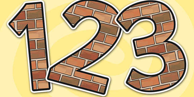 Brick Themed A4 Display Numbers - brick, themed, A4, display, numbers, brick themed numbers, A4 display numbers, A4 numbers, brick numbers, themed numbers