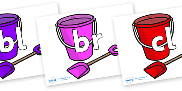 Initial Letter Blends on Spade and Buckets - Initial Letters, initial letter, letter blend, letter blends, consonant, consonants, digraph, trigraph, literacy, alphabet, letters, foundation stage literacy