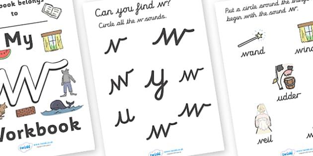 My 'w' Workbook (cursive) - education, home school, child development, children activities, free, kids, worksheets, how to write, literacy