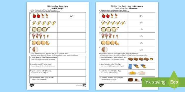Write the Fraction Activity Sheet English/Romanian - Learning from ...