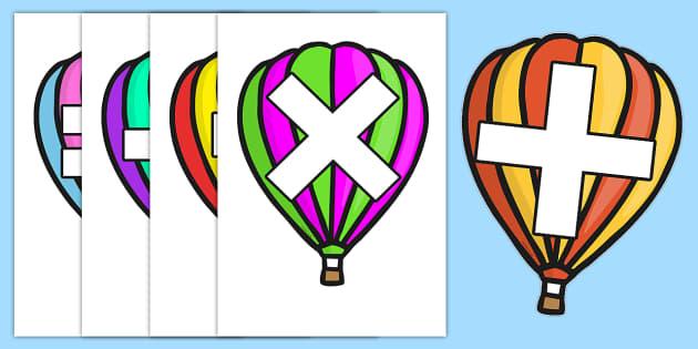Maths Signs on Hot Air Balloons - Maths, math, signs, symbols, plus, minus, equals, divide, times, numeracy, Maths signs, Foundation numeracy, Maths Vocab