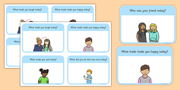 Questions to Ask Your Child About Their Day Flash Cards - questions, ask, child, about, day, flash cards