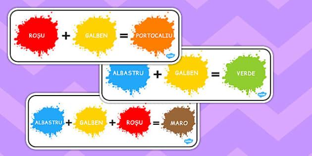 Culori primare și secundare - Planșe A4