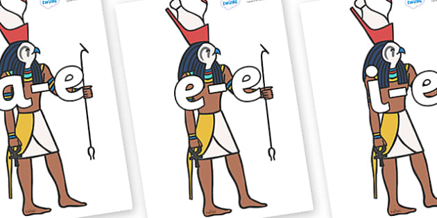 Modifying E Letters on Egyptian Gods - Modifying E, letters, modify, Phase 5, Phase five, alternative spellings for phonemes, DfES letters and Sounds
