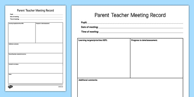 ROI Teacher Resource/Learning Support Teacher Parent Teacher Meeting Record Sheet Checklist-Irish