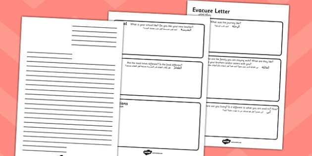 Evacuee Letter Writing Frame Arabic Translation - arabic, evacuee, letter, writing