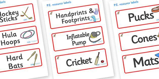 Kangaroo Themed Editable PE Resource Labels - Themed PE label, PE equipment, PE, physical education, PE cupboard, PE, physical development, quoits, cones, bats, balls, Resource Label, Editable Labels, KS1 Labels, Foundation Labels, Foundation Stage L