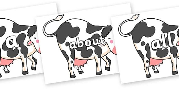 100 High Frequency Words on Hullabaloo Cow to Support Teaching on Farmyard Hullabaloo - High frequency words, hfw, DfES Letters and Sounds, Letters and Sounds, display words