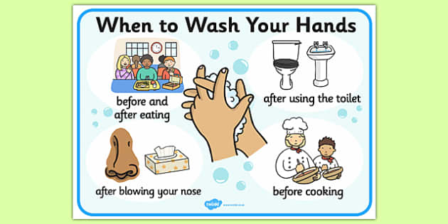 When to Wash Your Hands Display Sign - washing, healthy, hygene