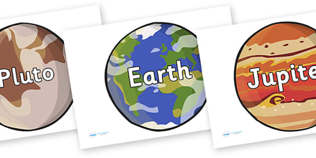 Planet Names on Planet Images - space, keywords, space keywords, keywords on images, space keywords on images, space words
