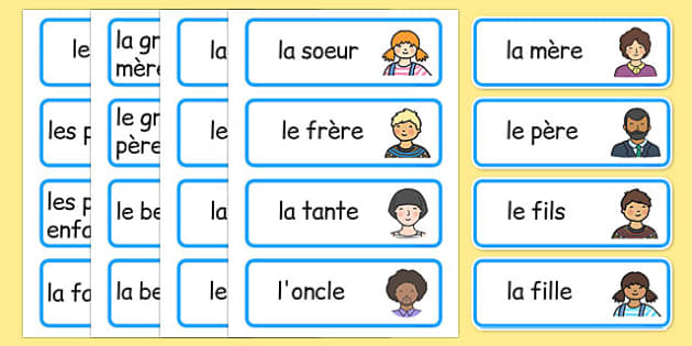 ma famille Word Cards French - french, my family, word cards, word, cards, family