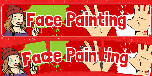 Christmas Themed Face Painting Banner - christmas fair, face painting, display banner, display, banner