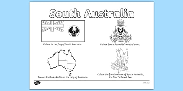 South Australia Colouring Sheet - australia, colouring, flag, coat of arms, floral emblem, map, Australia, Art, Geography, states, territories
