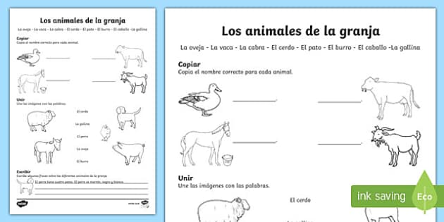 Farm Animals Activity Sheet Spanish, worksheet