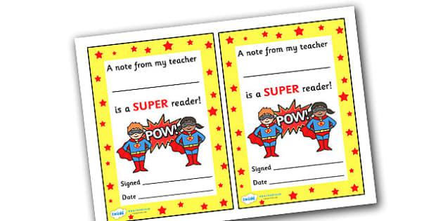 Note From Teacher Super Reader - note from teacher super reader, super reader, note from teacher, notes, praise, comment, note, teacher, teacher's, parents, reading