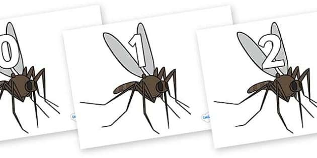 Numbers 0-31 on Mosquitos - 0-31, foundation stage numeracy, Number recognition, Number flashcards, counting, number frieze, Display numbers, number posters