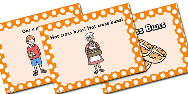 Hot Cross Buns PowerPoint - hot cross buns, nursery rhymes, nursery rhyme powerpoint, hot cross buns nursery rhyme, hot cross buns nursery rhyme powerpoint