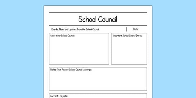 School Council Newsletter Writing Frame - school council, newsletter, writing frame