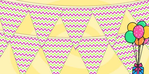 Zig Zag Birthday Party Pattern Bunting Pink And Green - birthdays