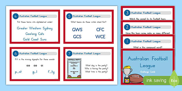 AFL Literacy Challenge Cards-Australia