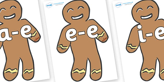 Modifying E Letters on Gingerbread Men - Modifying E, letters, modify, Phase 5, Phase five, alternative spellings for phonemes, DfES letters and Sounds