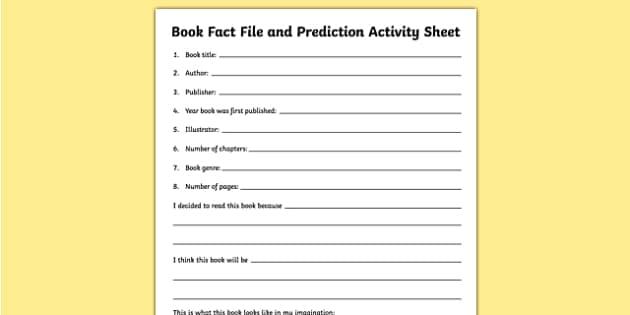 Book Fact File and Prediction Activity Sheet, worksheet