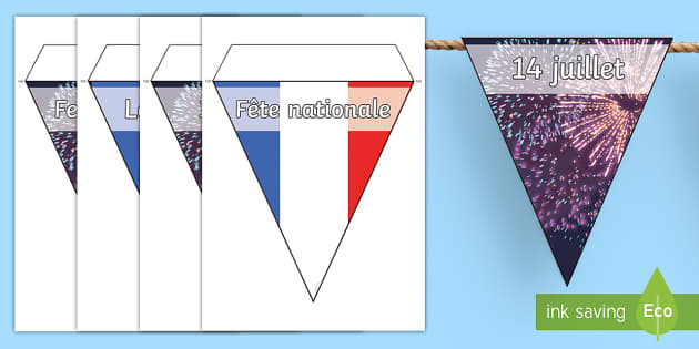 14th July Display Bunting - French, Celebrations, 14th July, National, fête, national, festival, celebration,French
