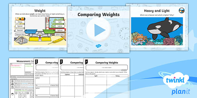 PlanIt Y1 Measurement Lesson Pack - Measurement, measuring, compare, describe, weight, mass, heavy and light, heavy or light, balance sc