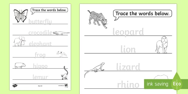 jungle animals trace the words activity sheet the great pet. Black Bedroom Furniture Sets. Home Design Ideas