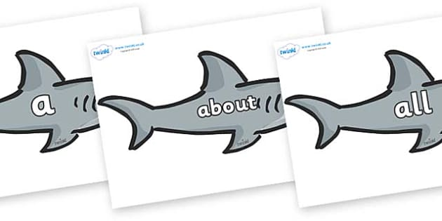 100 High Frequency Words on Sharks - High frequency words, hfw, DfES Letters and Sounds, Letters and Sounds, display words