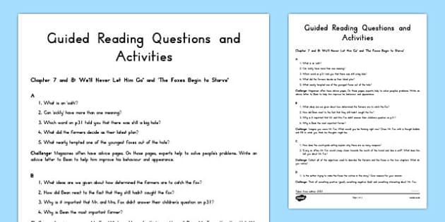 Guided Reading Questions Chapters 7 and 8 to Support Teaching on Fantastic Mr Fox - australia