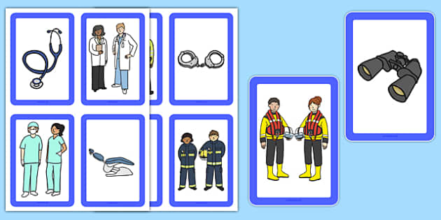 Jobs and Tools Matching Cards - jobs, tools, matching, cards, match