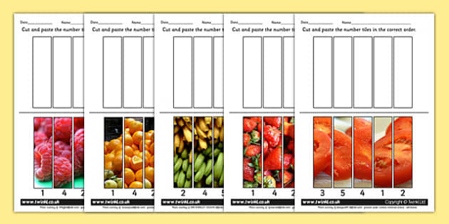 Fruit Themed Number Sequencing Photo Puzzles - healthy eating
