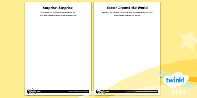 PlanIt Religion Year 1 Easter and Surprises Home Learning Tasks - Easter, surprises, Christianity, easter around the world