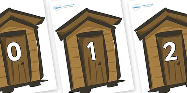 Numbers 0-50 on Sheds - 0-50, foundation stage numeracy, Number recognition, Number flashcards, counting, number frieze, Display numbers, number posters
