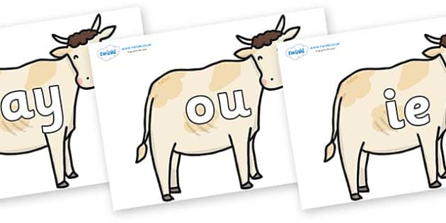 Phase 5 Phonemes on Cows - Phonemes, phoneme, Phase 5, Phase five, Foundation, Literacy, Letters and Sounds, DfES, display