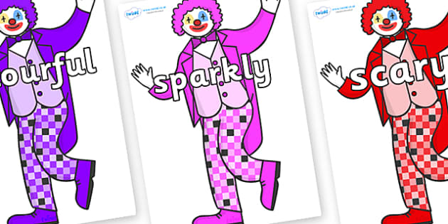 Wow Words on Clowns - Wow words, adjectives, VCOP, describing, Wow, display, poster, wow display, tasty, scary, ugly, beautiful, colourful sharp, bouncy