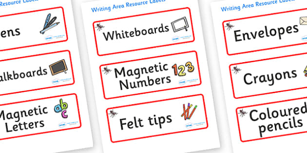 Ant Themed Editable Writing Area Resource Labels - Themed writing resource labels, literacy area labels, writing area resources, Label template, Resource Label, Name Labels, Editable Labels, Drawer Labels, KS1 Labels, Foundation Labels, Foundation St