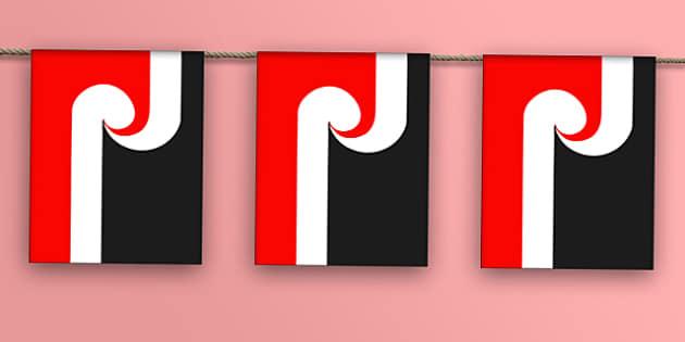 Maori Flag Bunting - maori flag, maori, flag, display bunting, display, bunting