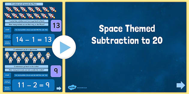Space Themed Subtraction to 20 PowerPoint - presentation, whole, class, teaching, teacher, led, ks1, key stage 1, sen, fun, rockets, stars, numbers, less than, take away