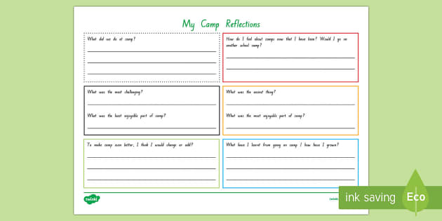 Camp Reflection Activity Sheet - New Zealand, Back to School,Camp,reflection,student self assessment,six thinking hats,trips,PGL, wor