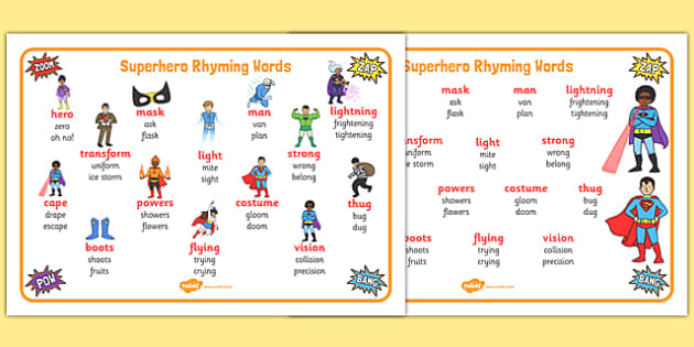 Superhero-Themed Rhyming Word Mat - superhero, rhyming, rhyme, word mat, word, mat